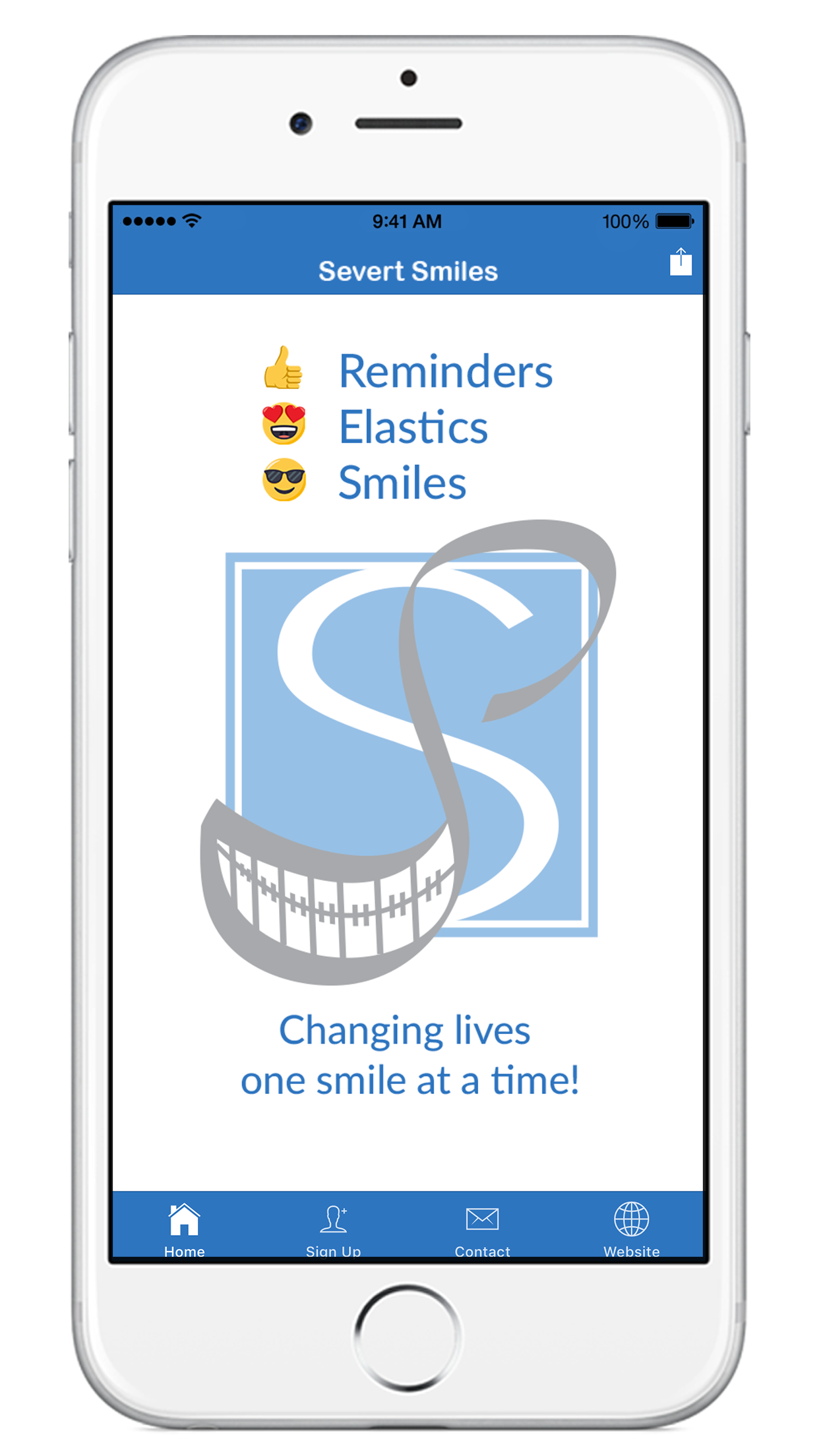 image of iPhone with Severt Smiles app