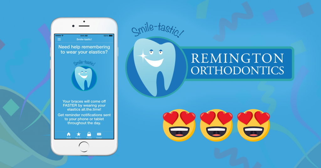 image of phone displaying Smile-tastic! Orthodontic Elastic Reminder App by Docs with Apps